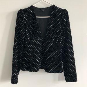 Express black velvet polka dot deep v top blouse
